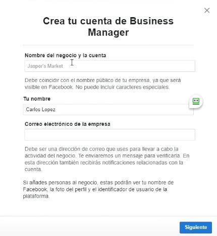 Crea tu cuenta de Facebook Business Manager